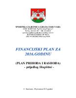 Prijedlog financijskog plana za 2016 godinu