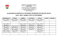 Raspored korištenja Gradske sportske dvorane 2015-16