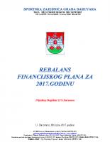 Rebalans financijskog plana za 2017 – prijedlog