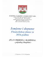 Prijedlog izmjena i dopuna Financijskog plana za 2016.godinu –